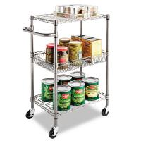 China 3-Tier Wire Rolling Cart In Restaurant Food Chrome Steel Utility Cart 24W X 14D X 36H for sale
