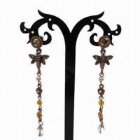 Wholesale Fashionable Drop Earrings, Butterfly-shaped Pendant with Pearl and Rhinestone Decorations from china suppliers