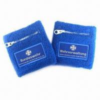 China Cotton Sport Wristband with Zipper Pocket and Embroidery or Flat Printed Logos on sale