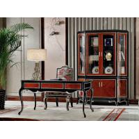 Wholesale Luxury Home office Furniture set Ebony wood Bookcase cabients and Reading desk in glossy painting with Writing chairs from china suppliers