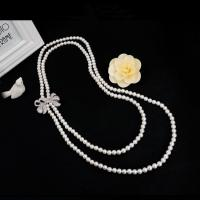 Wholesale Women White Shell Pearl Double Strands Sweater Necklace with Cubic Zirconia Bow Charm (SN702143BOW) from china suppliers