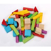 Buy cheap 50pcs Wood Building Block Set with Carrying Bag colored wooden blocks small size from wholesalers