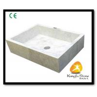 Xiamen Kungfu Stone Ltd supply Square Shape White Marble Sink For Indoor Kitchen,Bathroom for sale
