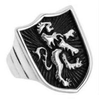 China Custom Stylish brushed finished Shield Shaped Stainless Steel Gothic Rings for party on sale