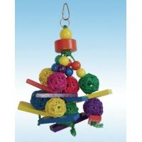 Wholesale natural wicker ball and wood parrot toy perfect for shredding, made of natural material from china suppliers