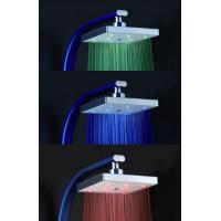 Quality Square Rainfall LED Shower Head With Temperature Sensor , Color Changing LED for sale