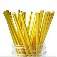 Wholesale Food Grade Gold Blocking Coloured Paper Straws , Decorative Drinking Straws Pass FDA from china suppliers