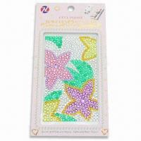 Wholesale Mobile Phone Sticker, Made of Acrylic Beads without Glue, Measures 6.1 x 3.2x 0.1-inch from china suppliers