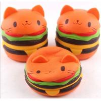 Wholesale Cute Bread Jumbo Cat Head Burger Soft PU Stress Relief Slow Rising Squishy Scented Toys For Kids / Adults from china suppliers