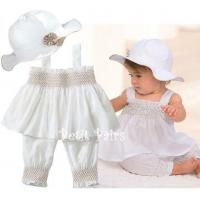 China With hood white infant baby's clothing White three-piece infant (0-2 year baby clothes) on sale