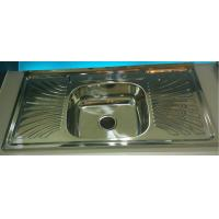 Qatar  commercial kitchen equipment china WY10050C stainless steel sink with drainboard single bowl for sale