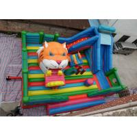 Wholesale Amusement Tiger Head childrens Inflatable Bouncy Castle With Slide from china suppliers