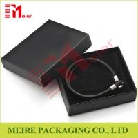 Wholesale Luxury glossy black Bracelet small cardboard jewelry boxes wholesale with black pouch for man from china suppliers