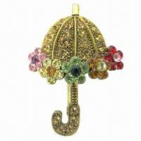 Wholesale Umbrella brooch with shining stones, made of alloy, CZ small diamonds from china suppliers