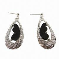 Wholesale Exquisite Rhinestone Stud Earrings, Suitable for Parties/Anniversaries/Weddings from china suppliers