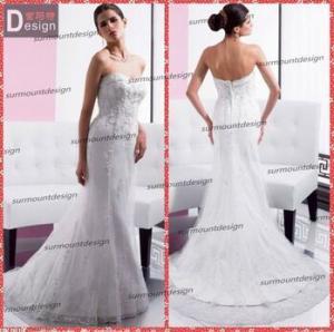 China Elegant white Lace Sweetheart Neckline Zip Back Mermaid Wedding Dress Patterns Free on sale