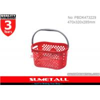 China Single Handle Plastic Shopping Baskets / Small Plastic Baskets With Handles on sale