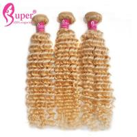 Soft Golden Blonde Ombre Hair Extensions Russian Curly Virgin Hair Bundles for sale
