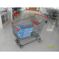 Buy cheap Grey Powder Coating Asian Type Wire Shopping Trolley 210L Wiht 4 Swivel 5 Inch Casters from wholesalers
