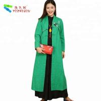Wholesale Quilted Embroidery Vintage Chinese Coat , Cotton Long Winter Coats For Ladies from china suppliers