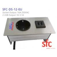 Wholesale 5v 2.1A Embedded Tabletop Furniture Power Outlet With Single EU Plug / Dual USB Charging from china suppliers