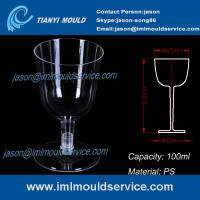 Quality PS clear disposable plastic red wine / champagne glasses and cups 3.3 oz /100ml mould for sale