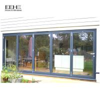 Wholesale Low E Black Aluminium Bifold Doors / Large Aluminium Folding Patio Doors from china suppliers