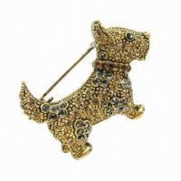Wholesale Dog Metal Brooch with Shining Stones from china suppliers