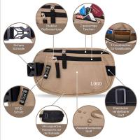 Wholesale Light Brown Waist RFID Travel Bags Wallet  for Passport / Cash / Sport from china suppliers