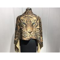 Quality Ladies Knit Tassels Scarf With Tiger Printing Pattern Acrylic Cashmere  Material for sale