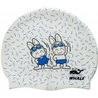 Quality Custom Childrens Swimming Hats Printed Swim Caps for Kids , White / Blue / Pink for sale