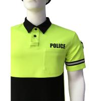 Wholesale Fluorescent Yellow Men'S Polyester Polo Shirts , Printed Polo Shirts With Reflective Tape from china suppliers