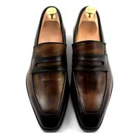 Buy cheap Custom Mens Leather Dress Shoes Goodyear Shoe 100% Handmade Genuine Leather Loafers from wholesalers