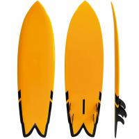 China Customized Yellow 6'5 Surf Air Inflatable Surfboard Fiberglass Material Orange Color on sale