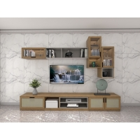 Buy cheap Wall Unit Set Of TV Floor Stand On Wall Cabinets Hydraulic Pressure Storage from wholesalers