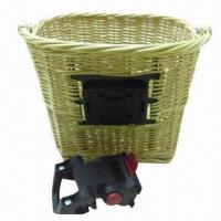 China Willow wicker quick release front bicycle baskets with handlebar bracket  on sale