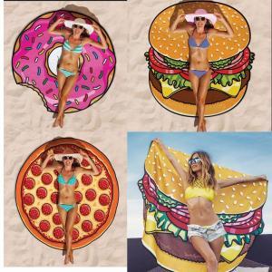 China Women Beach Cover Up Pareo Pizza Creative Shape Beach Mat Swimwear Cartoon Cloak mats Summer Saida De Praia on sale