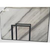 White Marble Stone Slab With Gray Patterns For Countertops / Floors for sale