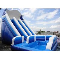 Wholesale Giant Commercial Water Slides , Blue Kids Inflatable Water Slides With Pool from china suppliers