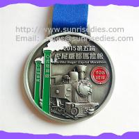 Wholesale Engraved color fill metal Marathon medals, China maker OEM engraved ribbon medals from china suppliers