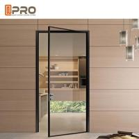 Black Color Powder Coated Aluminium Glass Hinged Door For Housing Project for sale