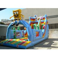Wholesale Kids Double Slide Blue Print Commercial Inflatable Slide PVC Waterproof from china suppliers