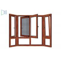 Wholesale Wooden Color Swing Open style Aluminum Hinged Window with fly screen from china suppliers
