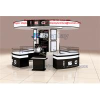 Wholesale Black high Glossy Counters with glass Showcase in Pink light for Cosmetics Pavilion from china suppliers