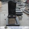 Wings Carved Absolute Black Granite Tombstone, Shanxi Black Granite Monuments for sale