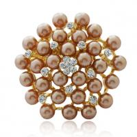 Wholesale Fashionable Sterling Silver Crystal And Imitation Pearl Gold Brooch for Ladies from china suppliers