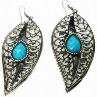 Wholesale Antique Drop Earrings, Leaf Design, with Water Drop Resin Decoration from china suppliers
