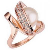 Wholesale No Nickel Rose Gold Customized Fashion Jewelry Ring With Small Pearl Gemstone from china suppliers