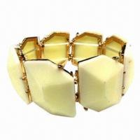 Wholesale Stretch Bracelet, Made of Resin Stones and Elastic Line, Nickel-/Lead-free from china suppliers