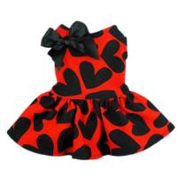 Quality Red Cloth&Black Heart Pattern Pet Dog Wedding Dresses For Dog for sale